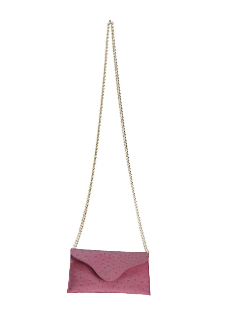 JJ Winters #257 Pink Ostrich Leather Chain Strap bag