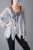 Umgee Coachella Crochet Boho Long Sleeve Top