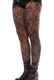 Keira's Favorite Black Dolly Floral Lace Tights