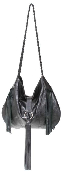 JJ Winters #126 Sandra Bullock Black Distressed Leather Fringe Bag