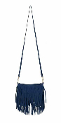 JJ Winters #351 Mini Suede Fringe Bag Nautical Blue