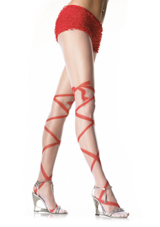 Leg Avenue Sheer Panty Hose with Woven Spiral Stripe