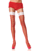 Leg Avenue Industrial Net Thigh Highs Red