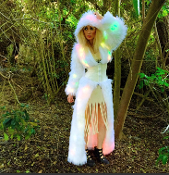 J Valentine Faux Fur Light Up Cincher Coat