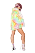 J Valentine Rainbow Sherbet Hip Length Fur Coat